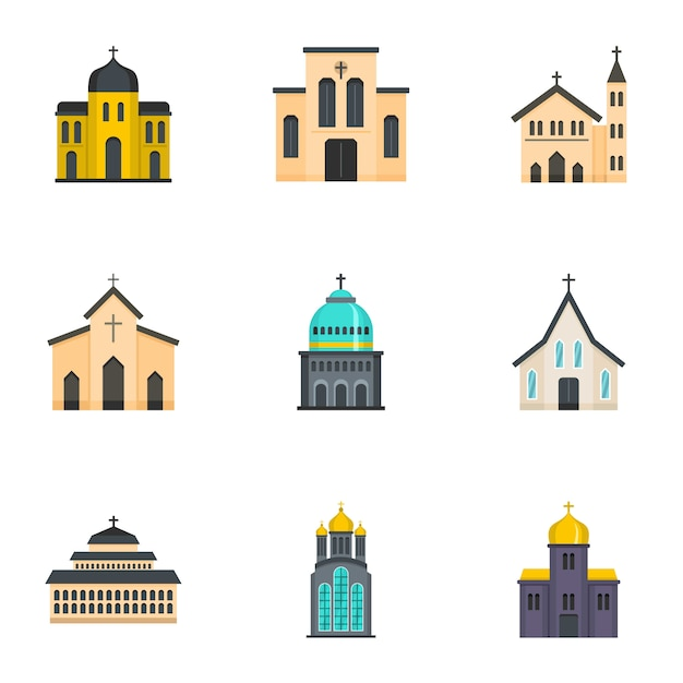 Place of worship icons set, cartoon style Premium Vector