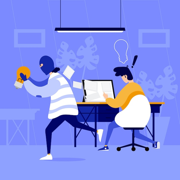 Plagiarism concept with man stealing ideas Free Vector