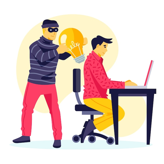 Plagiarism concept with thief stealing ideas Free Vector