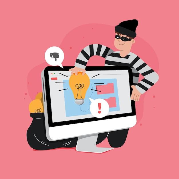 泥棒と盗作の概念 無料ベクター