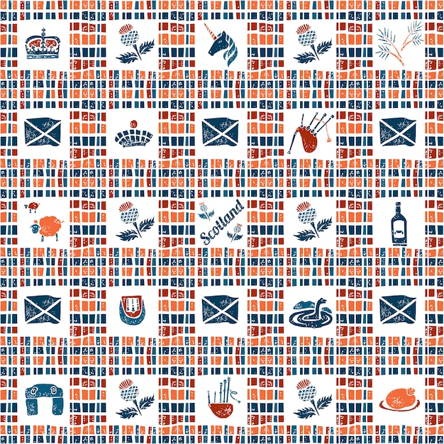 Plaid fabric seamless pattern, big scottish set Premium Vector
