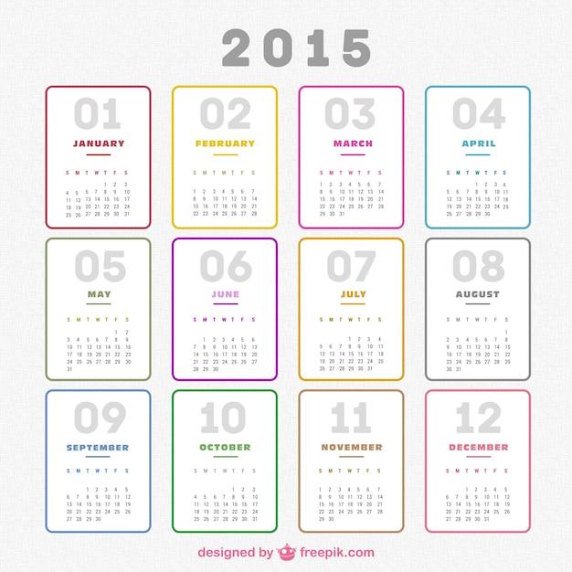 Plain 2015 calendar Free Vector