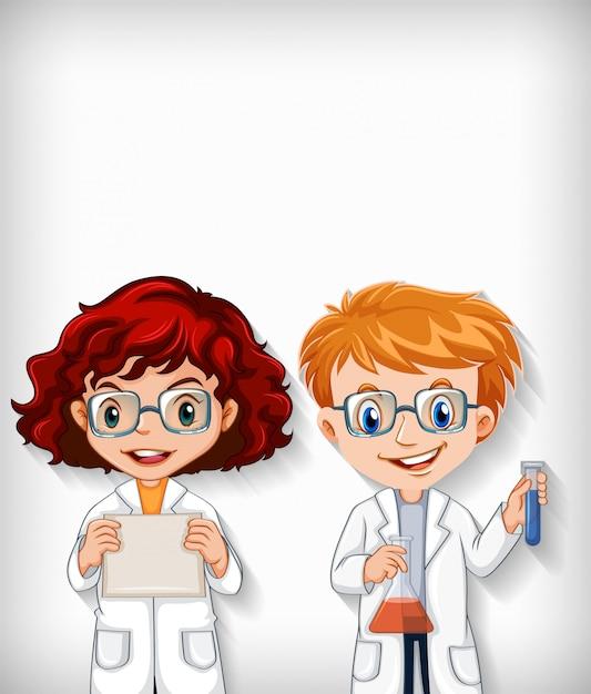 Простой фон с мальчиком и девочкой в научной одежде Бесплатные векторы