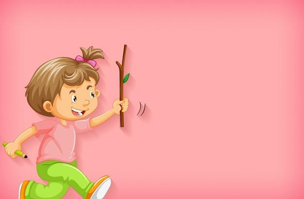 Простой фон со счастливой девочкой с деревянной палочкой Бесплатные векторы