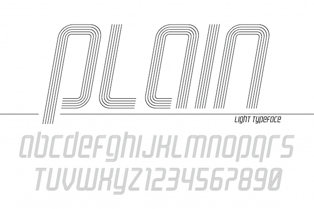 Plain display font popart , alphabet, letters and numbers Premium Vector