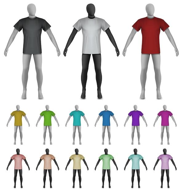 Plain t-shirt on mannequin torso template Vector | Premium Download