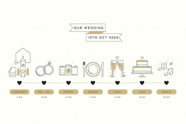 Plain wedding timeline in lineal style Free Vector