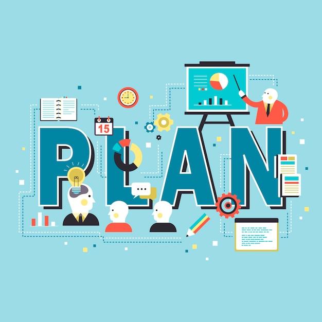 概念を計画し、会議の人々と言葉を計画する Premiumベクター
