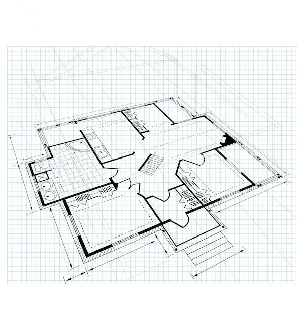 Plan a country house Premium Vector