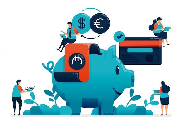 退職、財産、学校、銀行サービスによる投資のための投資を計画します。 Premiumベクター