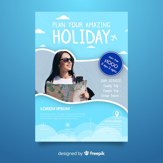 Plan your holiday travel poster Free Vector