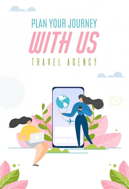 Запланируйте свое путешествие с нами коммерческий слоган Бесплатные векторы