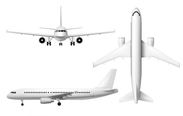 飛行機飛行機、現実的な飛行機モデル Premiumベクター
