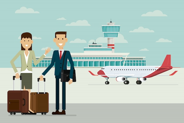 Plane at airport arrivals and business people man and women with suitcases, vector illustration Premium Vector