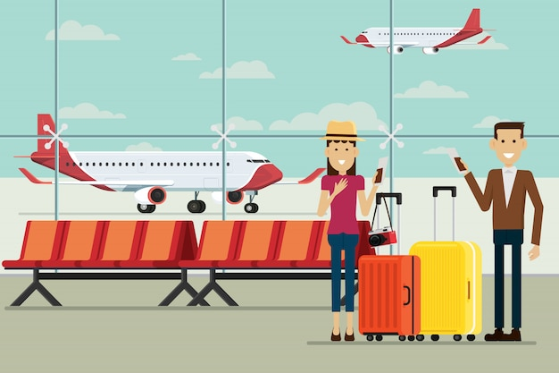 Plane at airport arrivals and people man and women with suitcases, vector illustration Premium Vector