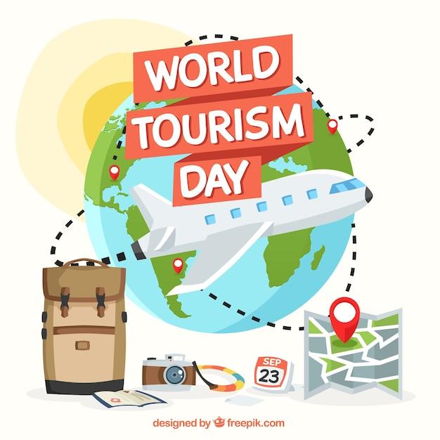 Plane around the world, world tourism day Free Vector