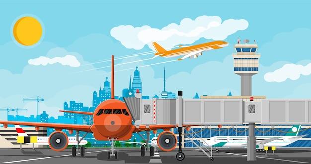 Самолет перед взлетом. диспетчерская вышка аэропорта, взлетно-посадочная полоса, здание аэровокзала и парковка. Premium векторы