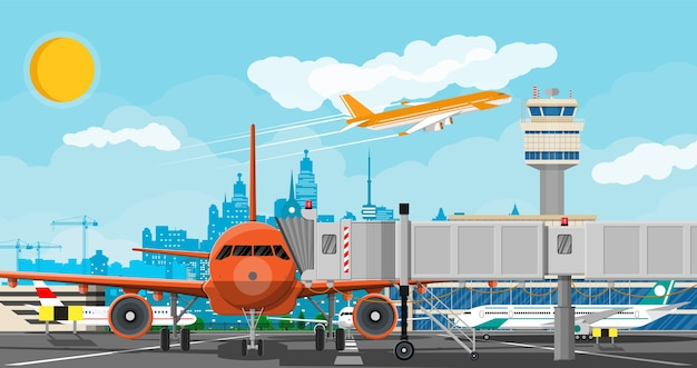 Plane before takeoff. airport control tower, jetway, terminal building and parking area. Premium Vector