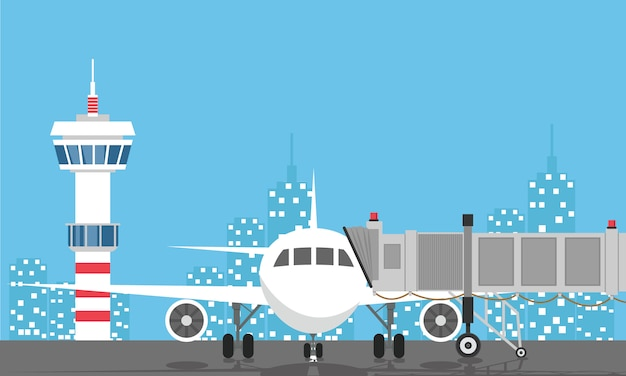 Plane before takeoff. airport control tower, jetway, terminal building Premium Vector