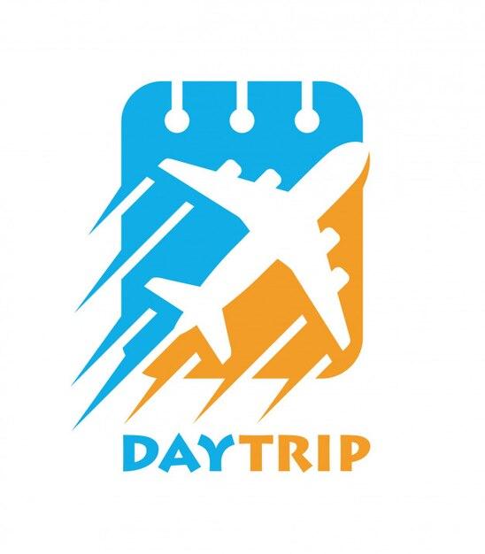 Plane combine with calendar logo template