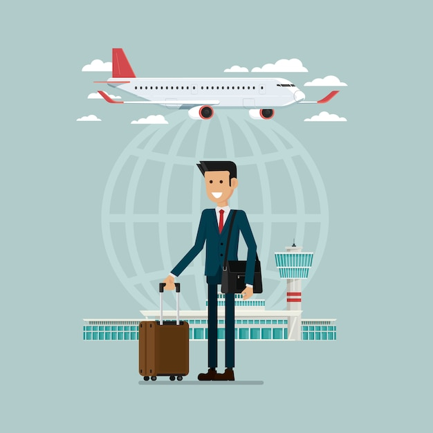 Plane departures travel sky and business man people with suitcases, vector illustration Premium Vector