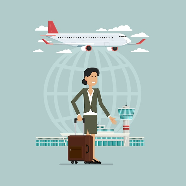 Plane departures travel sky and business woman people with suitcases, vector illustration Premium Vector