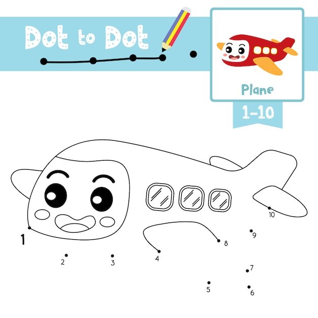 Plane dot to dot game and coloring book Premium Vector