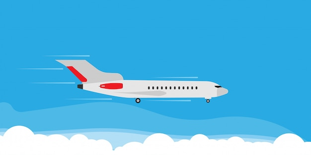 Plane fly in cloud sky illustration banner concept. travel tourism jet direction holiday flat. Premium Vector