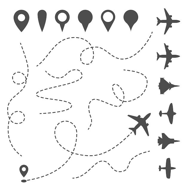 Плоская линия пути. самолет направленного пути, карта пунктирная тропа и направление полета. Premium векторы