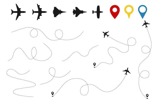 平面パスベクトル。航空機追跡、飛行機のシルエット、白い背景で隔離の場所ピン Premiumベクター