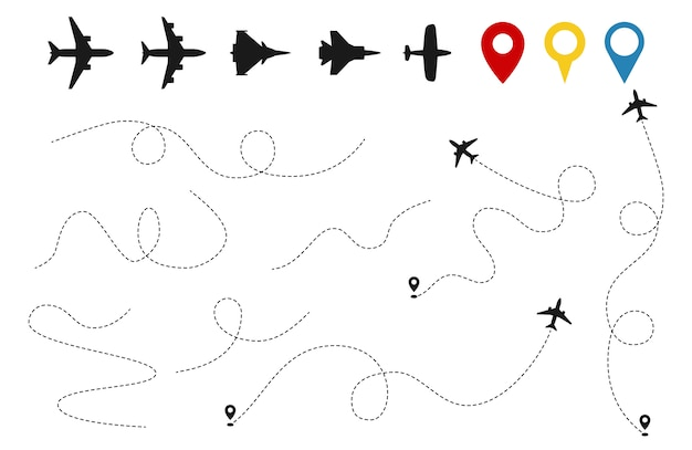 Plane paths vector. aircraft tracking, planes silhouettes, location pins isolated on white background Premium Vector