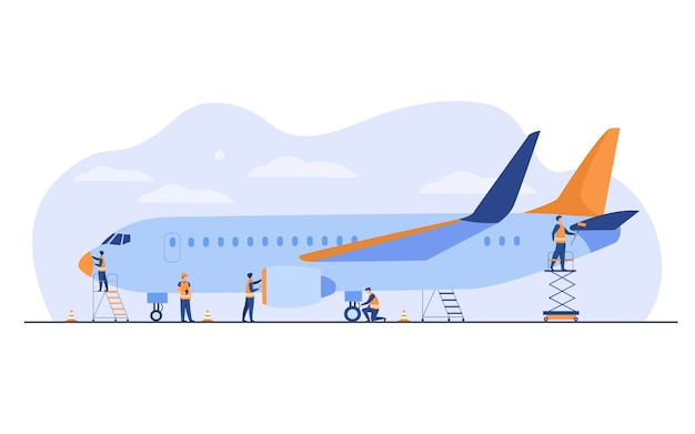 Plane service isolated flat vector illustration. cartoon mechanics repairing airplane before flight or adding fuel. aircraft maintenance and aviation concept Free Vector