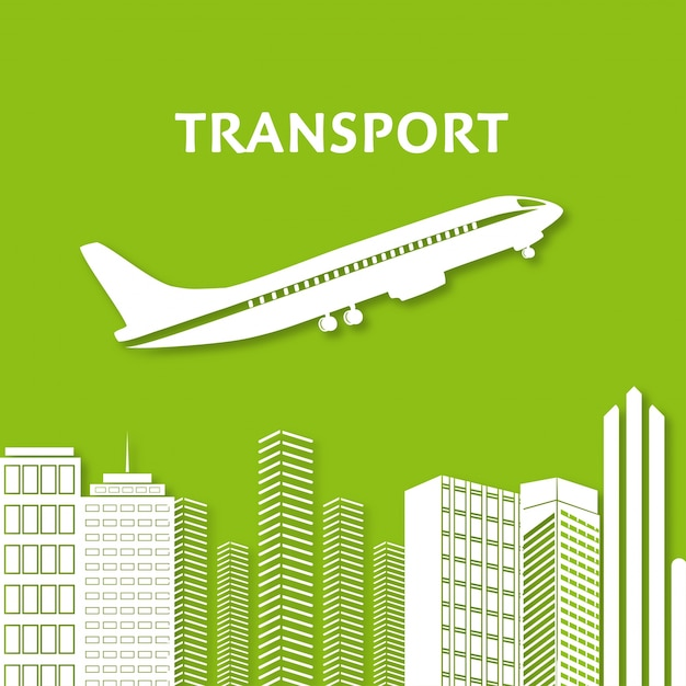 Plane and skyscrapers Free Vector