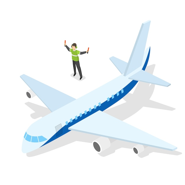 Самолет взлетает с взлетно-посадочной полосы аэропорта Premium векторы
