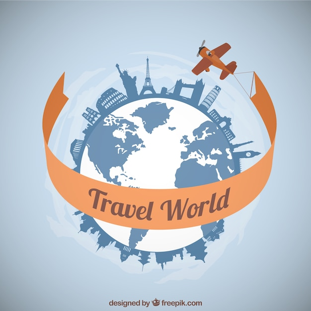 Plane traveling around the world vector free download for Cruise around the world