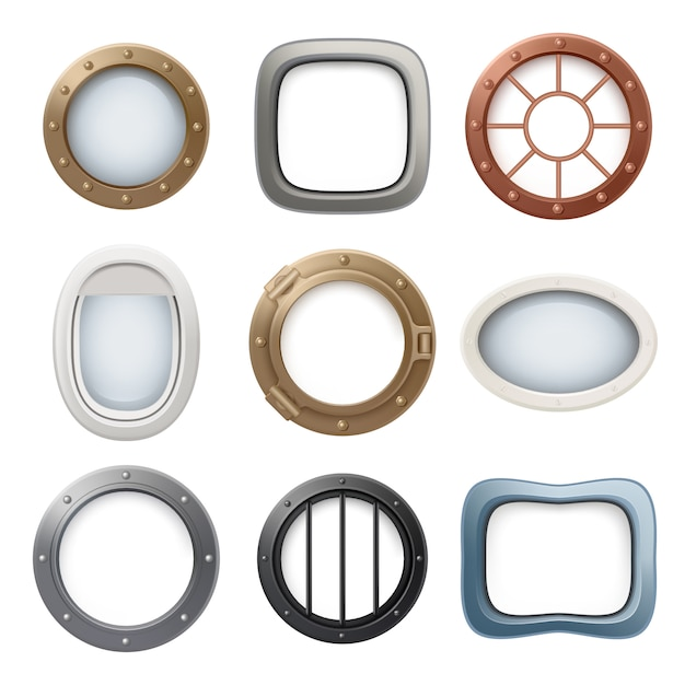 Plane window. ship boat round glass portholes aircraft interior  realistic 3d collection Premium Vector