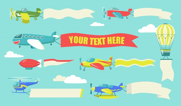 Planes with flying banners set Free Vector