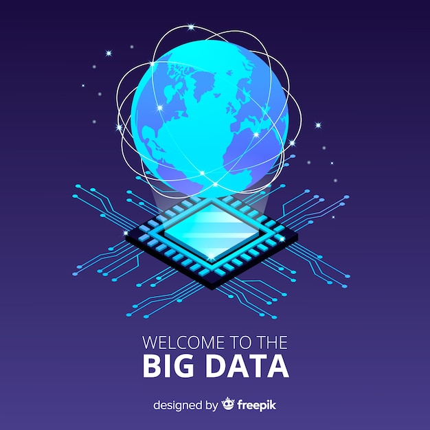 Planet big data background Free Vector