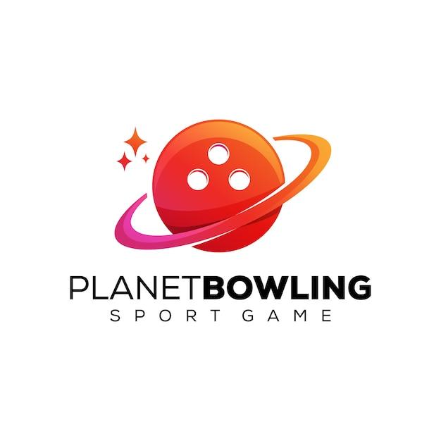 惑星ボウリンググラデーションロゴ、スポーツゲームのロゴのデザインテンプレート Premiumベクター