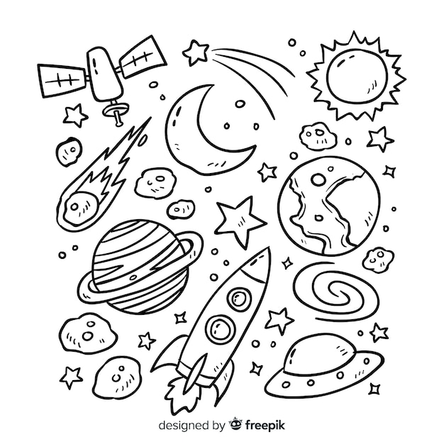 Planet collection in doodle style design Free Vector