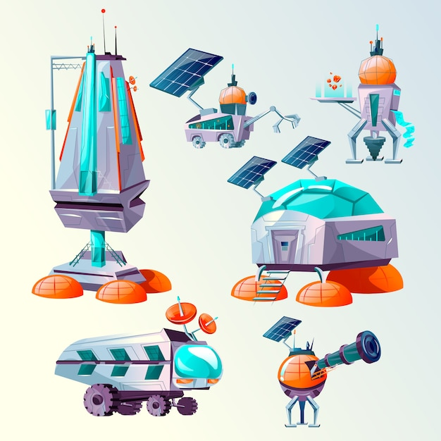 Planet colonization cartoon set Free Vector