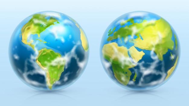 Planet earth. 3d realistic set Premium Vector