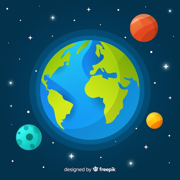 Planet earth concept with other planets Free Vector