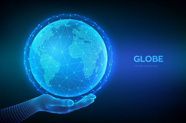 Planet earth globe in wireframe hand. world map point and line composition concept of global network connection. Premium Vector