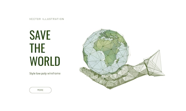 Планета земля в человеческой руке Premium векторы
