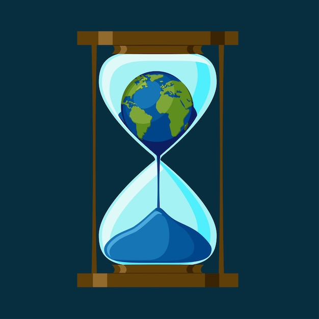 The planet earth inside of the hourglass. Premium Vector