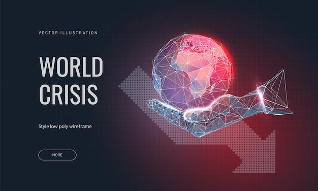 Планета земля на руке человека и стрелка вниз. концепция глобального кризиса или мировой катастрофы. Premium векторы