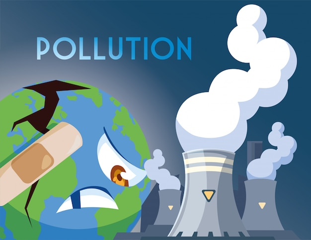 Planet earth sick from pollution Premium Vector