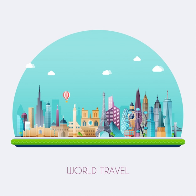 Planet earth travel the world. travel and tourism Premium Vector