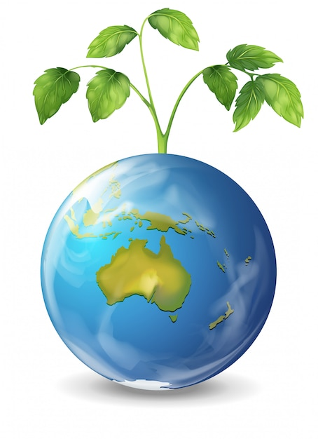 Planet earth with a growing green plant Free Vector
